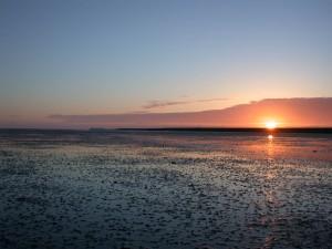 zonsondergang op het wad