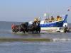 Paarden reddingsboot komen uit zee